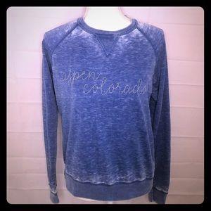 Soft Aspen Colorado Blue Burnout Sweatshirt